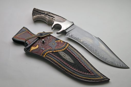 CAS of Argentina San-Mai Subhilt Fighting Bowie with Sheath